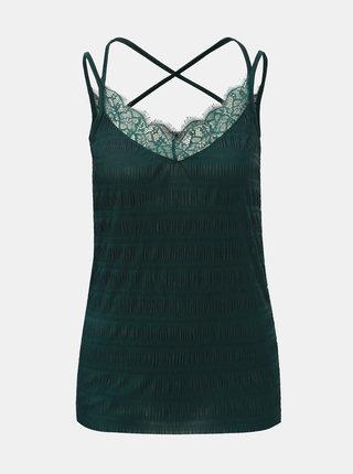 Tmavě zelený top s krajkovými detaily a pásky na zádech Pieces Olivia