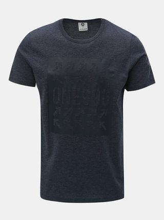 Tmavomodré melírované slim tričko s potlačou Jack & Jones Marl