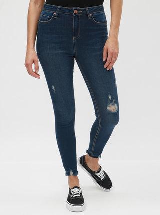Tmavě modré super skinny džíny s potrhaným efektem Miss Selfridge Lizzie