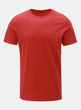 Tricou rosu slim fit cu buzunar la piept Jack & Jones