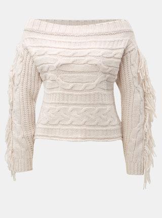 Svetloružový sveter s odhalenými ramenami a strapcami Miss Selfridge