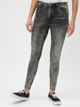 Šedé skinny džíny s vyšisovaným efektem a vysokým pasem Jacqueline de Yong Gaby