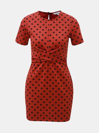 Tehlové bodkované šaty Miss Selfridge Petites