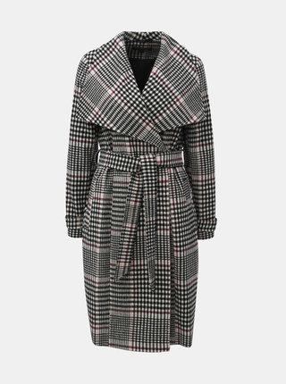 Šedý kostkovaný dlouhý kabát Miss Selfridge