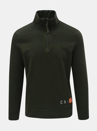 Bluza sport verde inchis cu imprimeu si fermoar la gat Jack & Jones Nimal