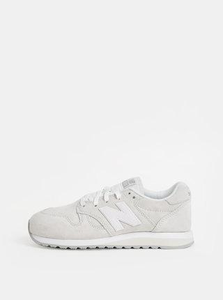 Pantofi sport crem de dama din piele intoarsa cu imprimeu pe calcai New Balance 520