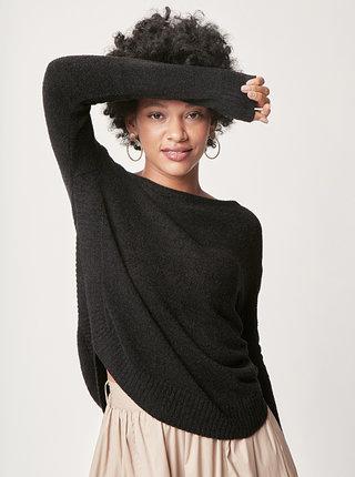 Čierny voľný sveter s okrúhlym výstrihom touch me. Pocahontas Vibe