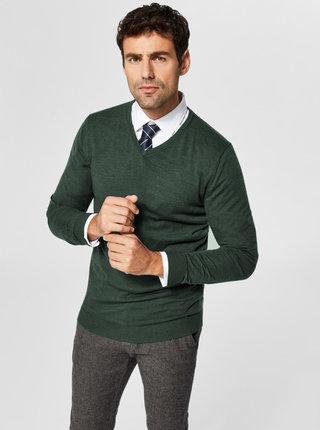 Zelený vlněný lehký basic svetr Selected Homme
