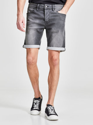Pantaloni scurti din denim  regular fit gri cu terminatie rasucita - Jack & Jones Rick