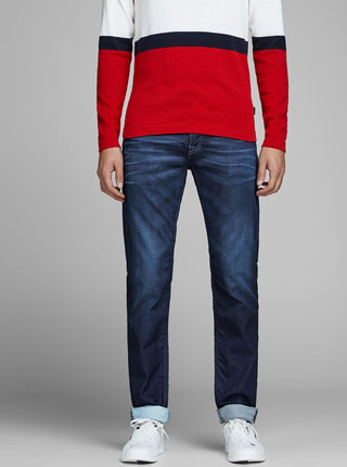 Blugi bleumarin comfort fit cu aspect decolorat Jack & Jones Mike