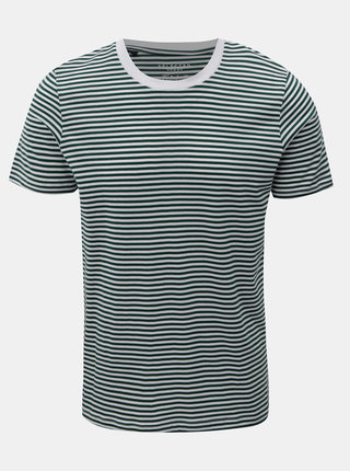 Tricou alb-verde in dungi cu maneci scurte Selected Homme Perfect