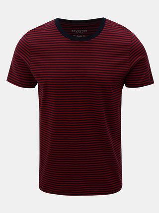 Modro–červené pruhované tričko Selected Homme Perfect