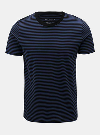 Čierno–modré pruhované basic tričko Selected Homme Perfect
