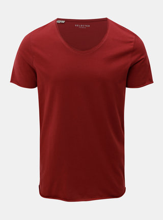 Tricou basic rosu cu maneci scurte Selected Homme Merce