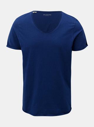 Tricou basic albastru cu maneci scurte Selected Homme Merce