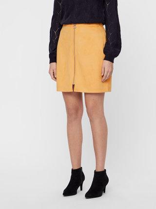 Horčicová sukňa v semišovej úprave so zipsom VERO MODA Need