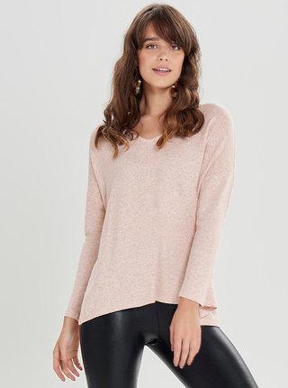 Světle růžový žíhaný svetr s rozparky ONLY Kleo