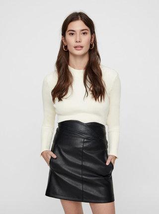 Krémový rebrovaný basic sveter so stojačikom AWARE by VERO MODA Fine