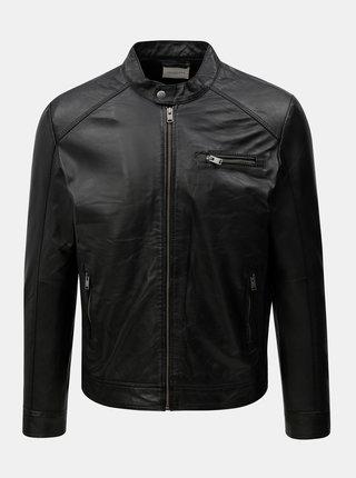 Jacheta neagra din piele Selected Homme