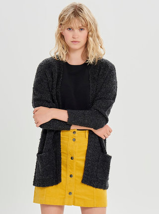 Cardigan gri inchis cu buzunare si amestec de lana Jacqueline de Yong Delight