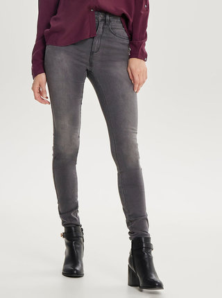 Šedé skinny džíny s vysokým pasem ONLY Royal