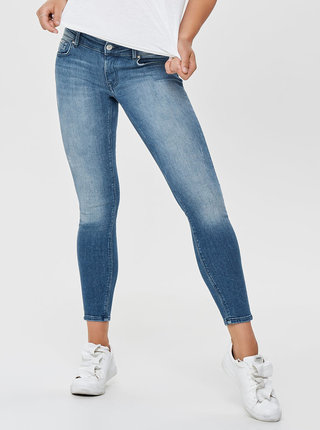 Blugi albastri crop push up skinny fit din denim cu aspect uzat ONLY Dylan