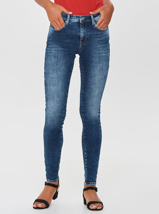 Blugi albastri skinny fit din denim cu aspect uzat ONLY
