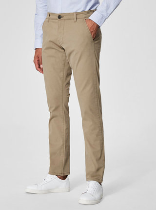 Pantaloni chino bej din bumbac Selected Homme Three Paris