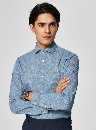Camasa albastra regular fit cu print - Selected Homme Two Sel
