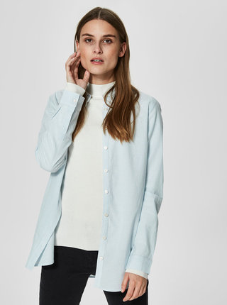Camasa bleu in dungi cu nasturi ascunsi Selected Femme Noella