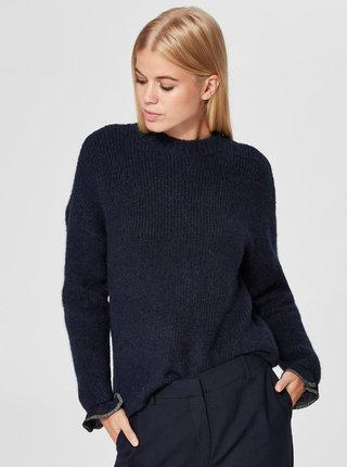 Modrý svetr s příměsí vlny Selected Femme Regina