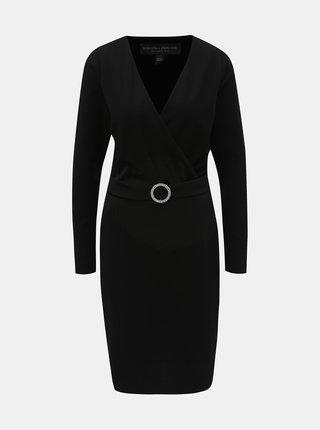 Čierne puzdrové šaty s prekladaným výstrihom a opaskom Dorothy Perkins Tall