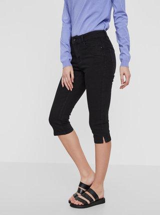 Pantaloni 3/4 negri din denim - VERO MODA Hot Seven
