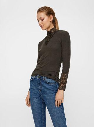 Khaki top s krajkovými detaily VERO MODA Kiwi