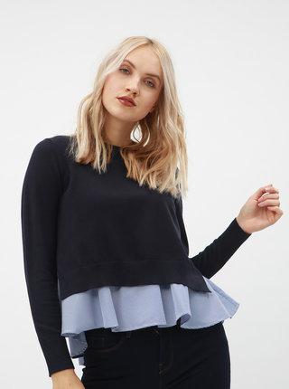 Tmavomodrý sveter s košeľovou časťou ONLY Latisha