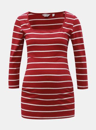 Červené pruhované těhotenské basic tričko Dorothy Perkins Maternity