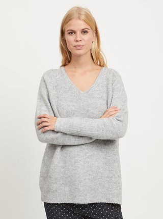 Šedý žíhaný volný basic svetr s příměsí vlny VILA