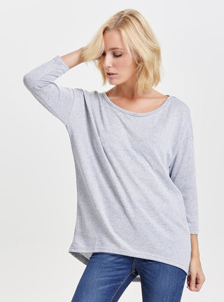 Svetlosivý melírovaný voľný sveter ONLY