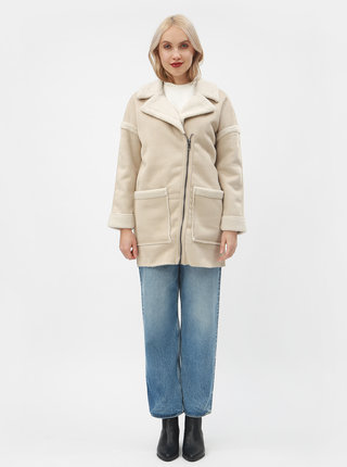 Béžový kabát s umělou kožešinou ONLY Felicity