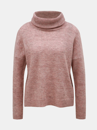 Starorůžový žíhaný svetr s rolákem s příměsí vlny ONLY Meredith