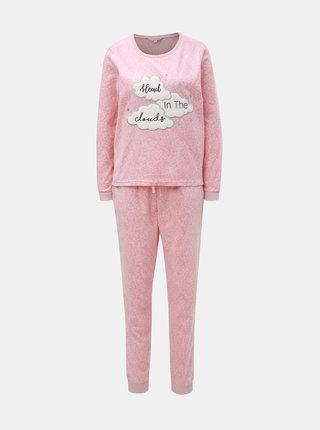 Ružové dvojdielne fleecové pyžamo s motívom mrakov Dorothy Perkins