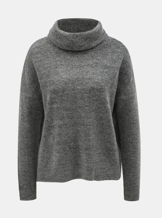 Šedý žíhaný svetr s rolákem s příměsí vlny ONLY Meredith