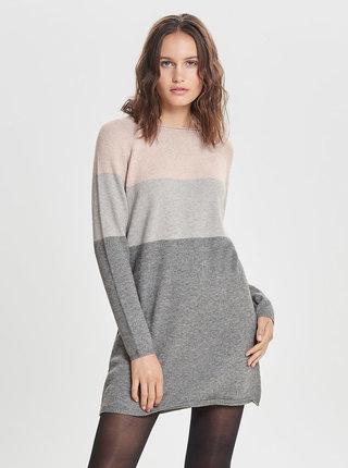Ružovo–sivé melírované svetrové šaty ONLY