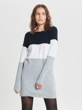 Modro–sivé svetrové šaty s dlhým rukávom ONLY Lily