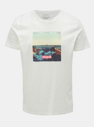 Tricou alb cu imprimeu Jack & Jones Social