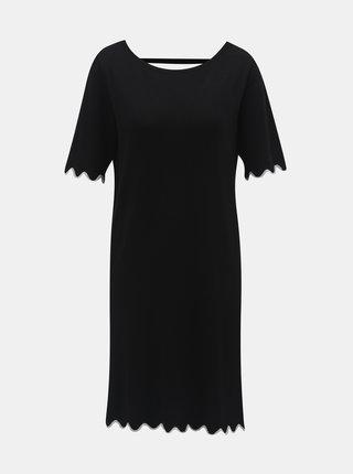 Čierne svetrové šaty s trblietavým lemom a prestrihom na chrbte Jacqueline de Yong Gracie