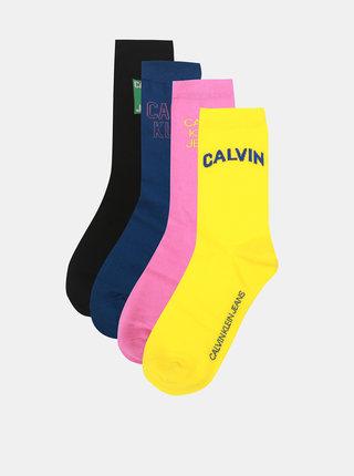 Sada čtyř párů dámských ponožek v černé, modré, růžové a žluté barvě Calvin Klein Jeans