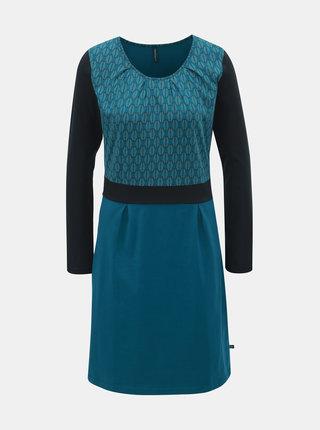 Tyrkysové vzorované šaty s dlhým rukávom Tranquillo Beda