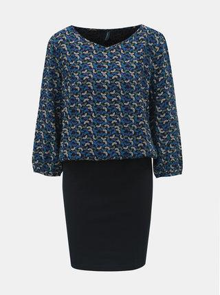 Rochie negru-albastru cu model si maneci 3/4 Tranquillo Macha