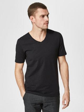 Tricou basic negru din bumbac pima Selected Homme